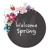 Willkommen Frühling Tafel Stil mit Blumen-Vektor — Stockvektor