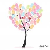 Heart tree with colorful finger prints vector — Stock Vector