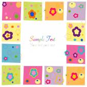 Colorful flowers square border greeting card — Stock Vector