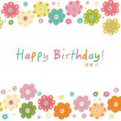 Happy birthday greeting card with colorful flowers — Vettoriale Stock