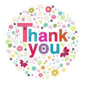 Tack cirkel gratulationskort med färgglada blommor — Stockvektor
