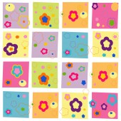 Colorful abstract flowers square pattern wallpaper — Stock Vector