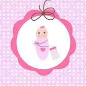 Swaddle baby girl greeting card with bottle — Cтоковый вектор