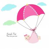Hanging baby girl with umbrella baby arrival card — Stok Vektör