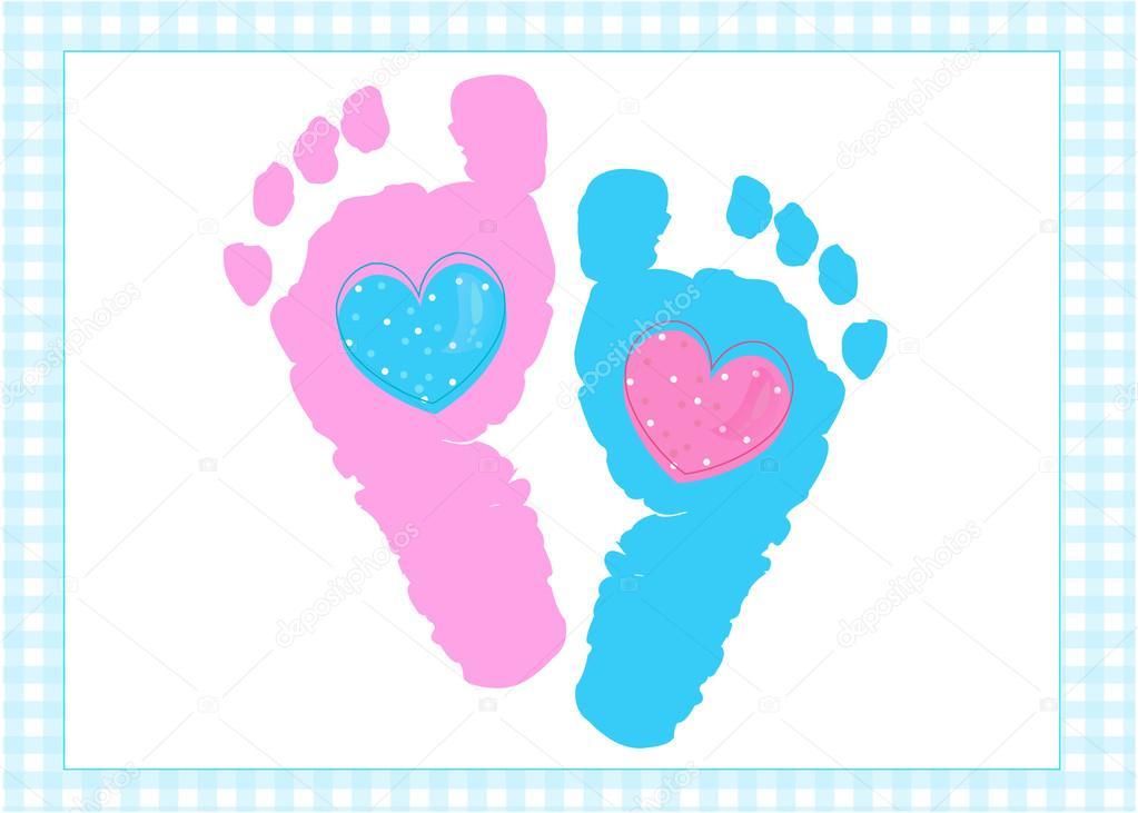 Pies De Los Bebés Gemelos Niña Y Niño Imprime Vectores