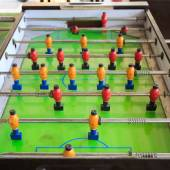 Old football table, soccer table — 图库照片