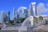 Singapore Skyline and Merlion — Stock Photo