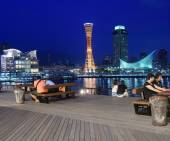 Kobe Harbour waterfront view with Port Tower and Maritime museum. — Stock Photo
