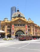 Flinders street station and tram — ストック写真