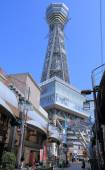 Tsutenkaku Tower Shinsekai Shopping arcade Osaka Japan — Stock Photo