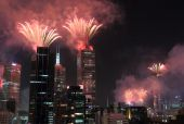 Melbourne fireworks — Stock Photo