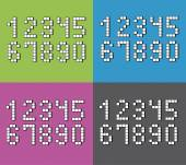 Set of flat pixel numbers on four different color backgrounds  — Stock Vector