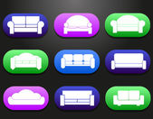 Sofas and couches furniture icons set for comfortable living room vector illustration — Stock Vector