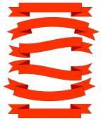 Conjunto de lazos rojos grandes, aislado sobre fondo blanco, ilustración vectorial — Vector de stock