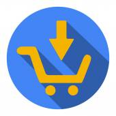 Shopping cart Flat Blue Simple Icon with long shadow, isolated on white background — Stock Vector