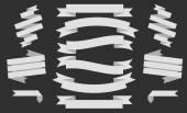 Big white Ribbons Set, Isolated On black Background, Vector Illustration — Vector de stock