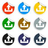 Set of blank stickers. Upload icon. Vector illustration. — Stock Vector