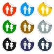 Vector man and woman icons, Set of blank stickers — Stock Vector #59586381