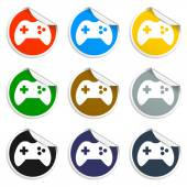 Game controller icon. Set of blank stickers — Stock Vector