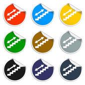 Staircase symbol. Set of blank stickers — 图库矢量图片