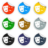 Theater icon with happy and sad masks. — Stock Vector