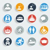 Users icons on gray buttons. — Stock Vector