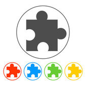 Puzzle Icon on Internet Button Original Vector Illustration — Stock Vector