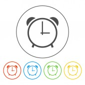 Clock icon, vector illustration. Flat design style — Stock Vector