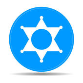 Estrella de sheriff. Plana web icono o signo aislado sobre fondo azul — Vector de stock