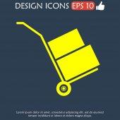 Wheelbarrow for transportation of cargo, web icon. — Stock Vector