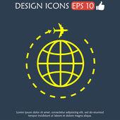 Globe and plane travel icon. — Stock Vector
