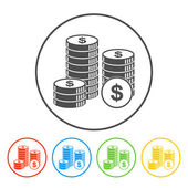 Stack of coins icon — Stock Vector