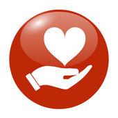 Векторный icon - руки держит сердце — Cтоковый вектор