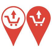 Map pointer. shopping cart Flat — Stock Vector