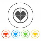 Crosshair icon with a heart. — Stock Vector