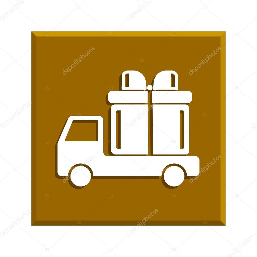 卡车与礼物矢量图标