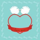 Doves on heart — Stock Vector