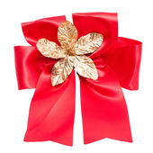 Red satin gift bow. Ribbon. — Stock Photo