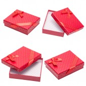 Collection of Red gift with ribbon and bow — Stock Photo