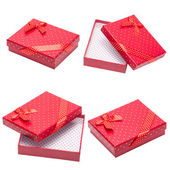 Collection of Red gift with ribbon and bow — Stok fotoğraf