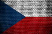 Texture of sackcloth with the image of the Czech Republic Flag — Stock Photo