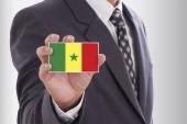 Businessman in suit holding Senegal Flag — Stock Photo