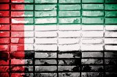 United Arab Emirates flag on texture brick wall — Stock Photo