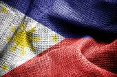 Texture of sackcloth with the image of the Philippines Flag — Stock Photo