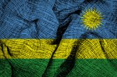 Rwanda flag on fabric surface — Stock Photo