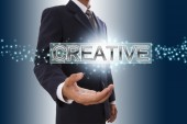 Businessman hand showing creative. — Stock Photo