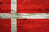 Denmark Flag painted on old wood background — Photo