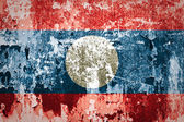 Laos Flag on steel wall — Zdjęcie stockowe