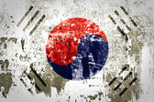 South Korea Flag on steel wall — Stock Photo