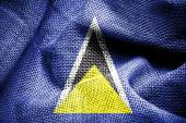 Fabric texture of the flag of Saint Lucia — Stock Photo